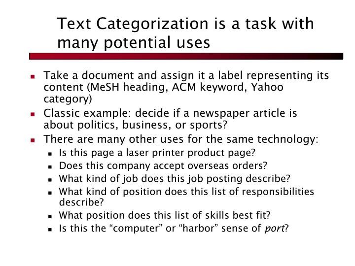 Text Categorization is a task with many potential uses