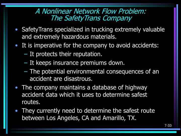 A Nonlinear Network Flow Problem: