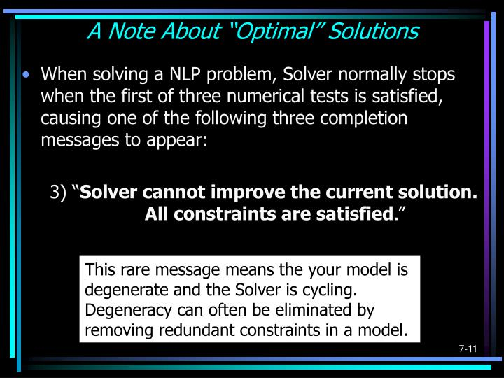 """A Note About """"Optimal"""" Solutions"""