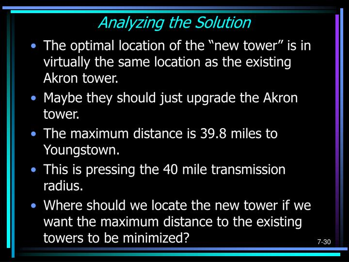 Analyzing the Solution