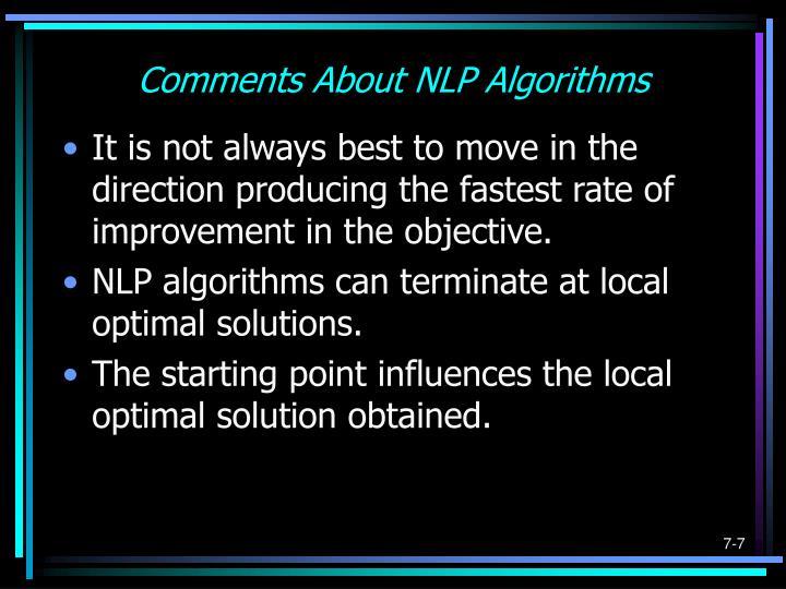 Comments About NLP Algorithms
