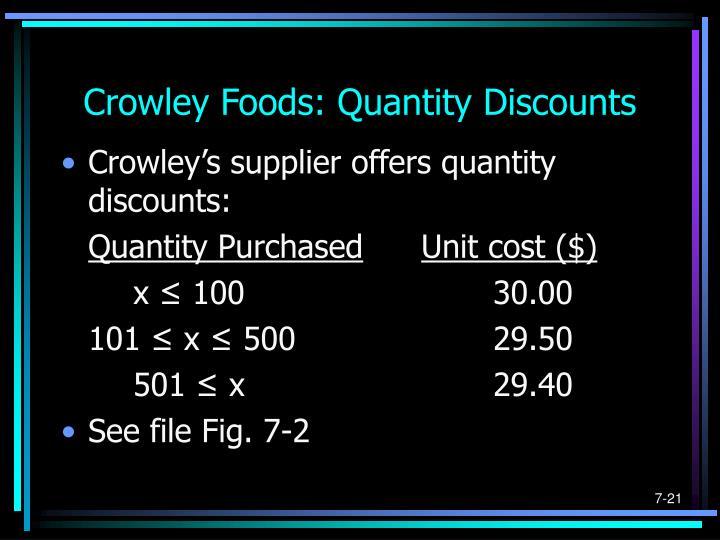 Crowley Foods: Quantity Discounts