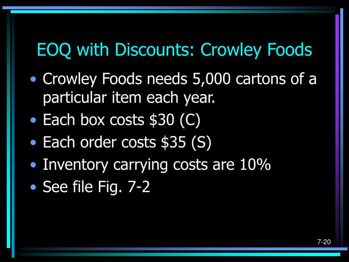 EOQ with Discounts: Crowley Foods