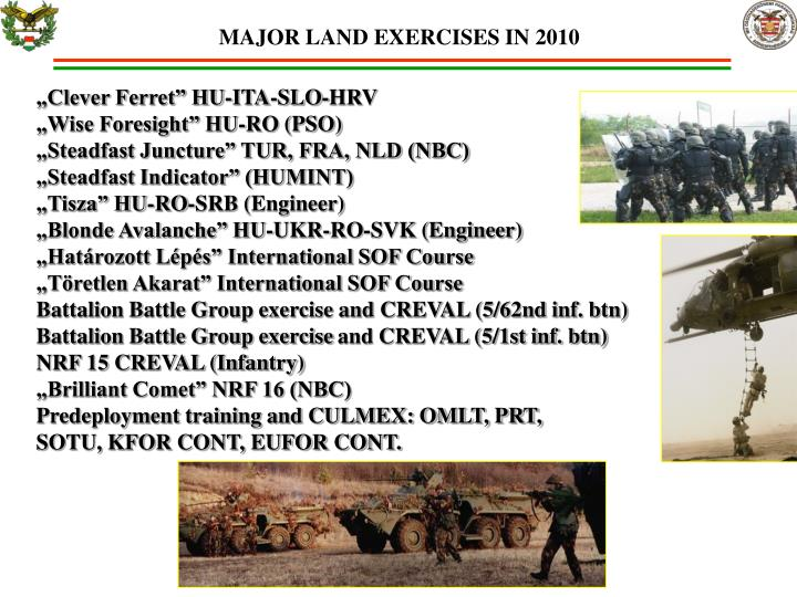 MAJOR LAND EXERCISES IN 2010