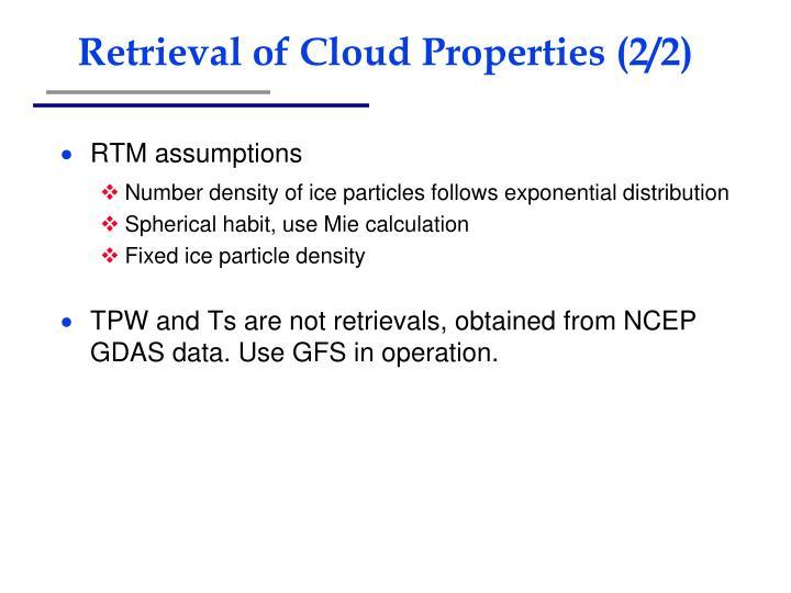Retrieval of Cloud Properties (2/2)