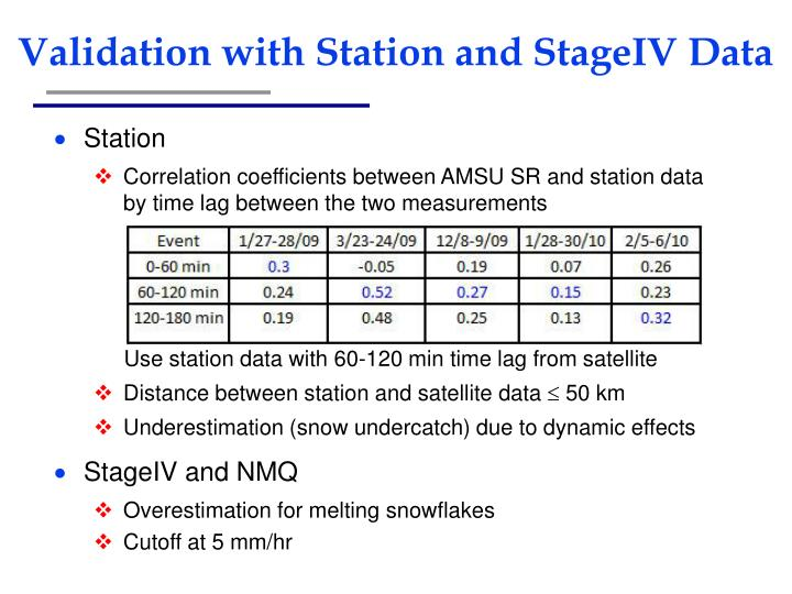 Validation with Station and StageIV Data