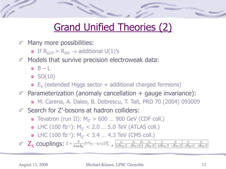 Grand Unified Theories (2)