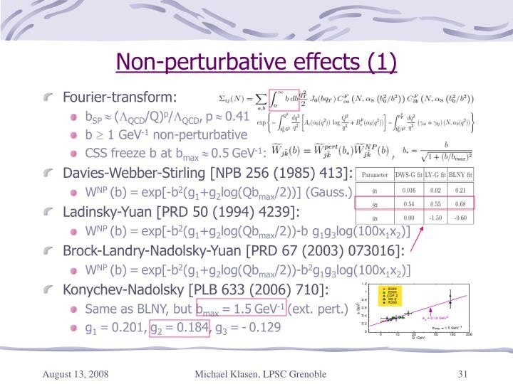 Non-perturbative effects (1)