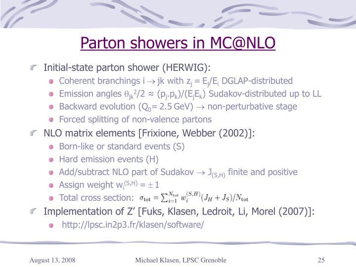 Parton showers in MC@NLO