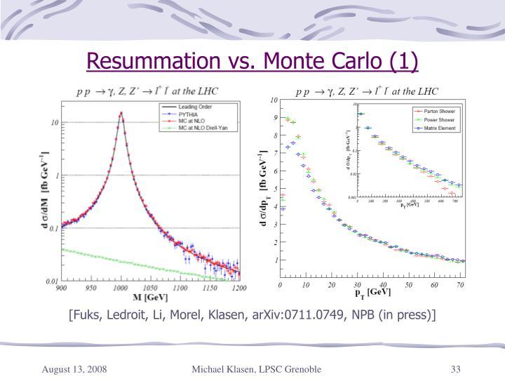 Resummation vs. Monte Carlo (1)