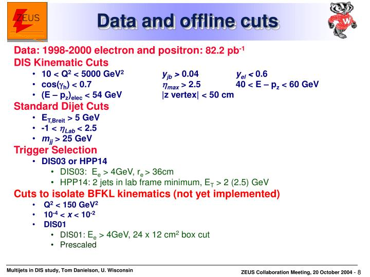 Data and offline cuts