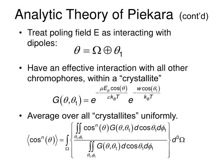 Analytic Theory of Piekara