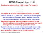mssm charged higgs h h
