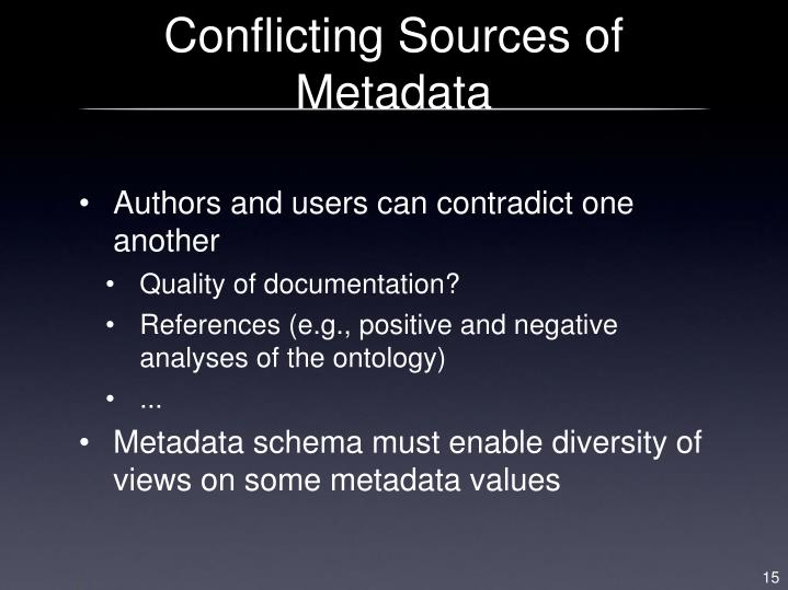 Conflicting Sources of Metadata