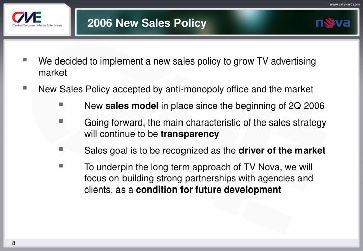 2006 New Sales Policy
