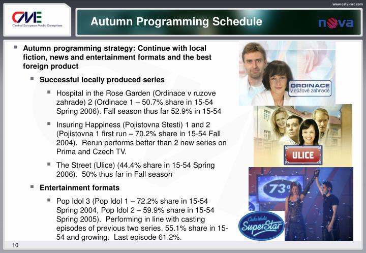 Autumn Programming Schedule