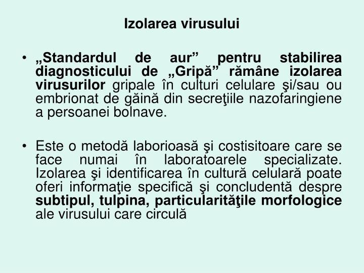 Izolarea virusului