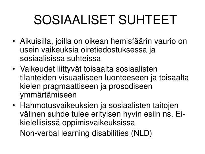 SOSIAALISET SUHTEET