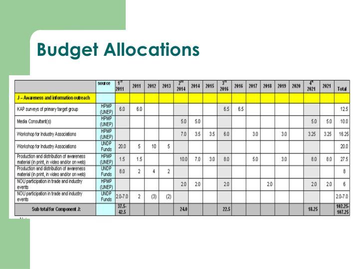 Budget Allocations