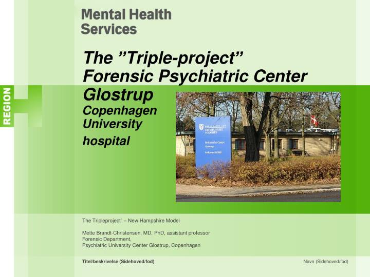 The triple project forensic psychiatric center glostrup copenhagen university hospital