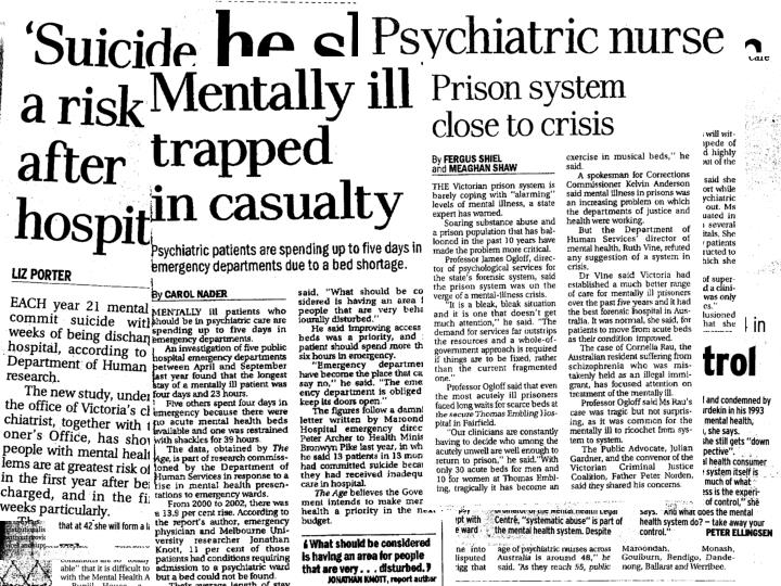 Research in the context of mental health service provision the challenges
