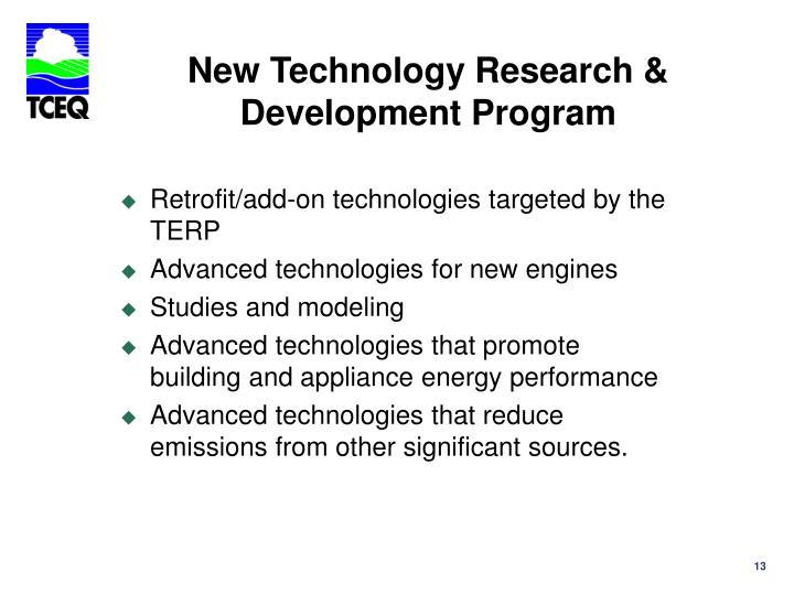 New Technology Research & Development Program