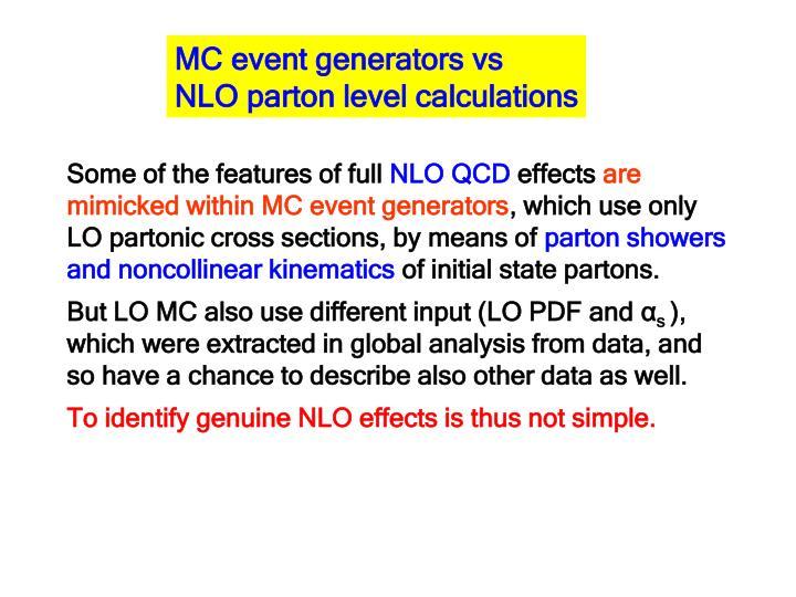 MC event generators vs