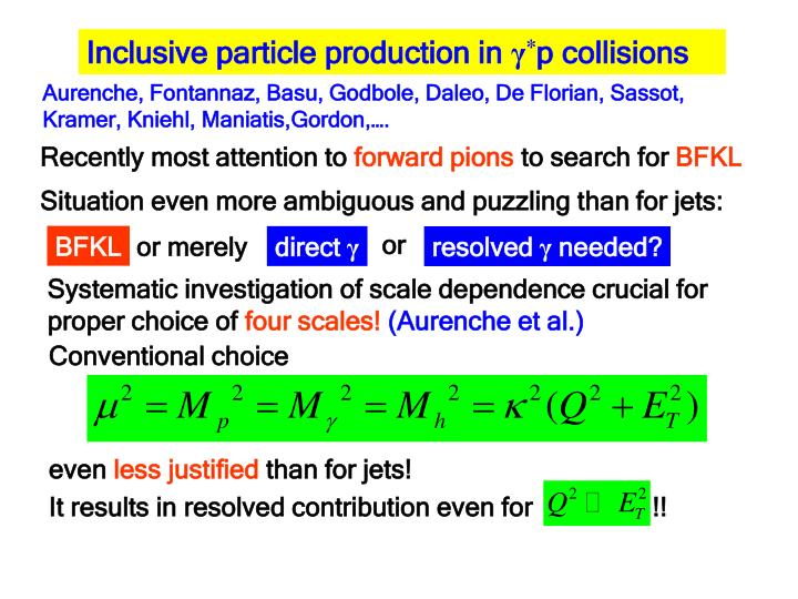Inclusive particle production in