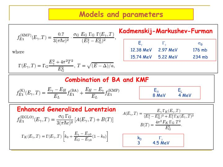 Models and parameters