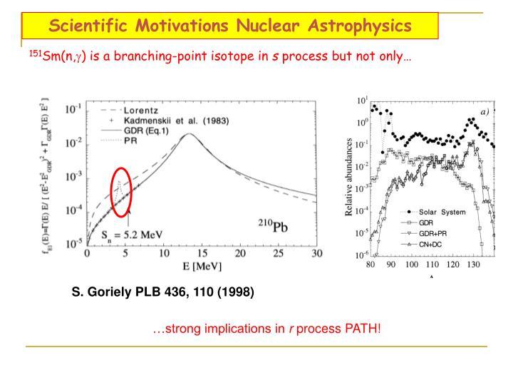 Scientific Motivations Nuclear Astrophysics
