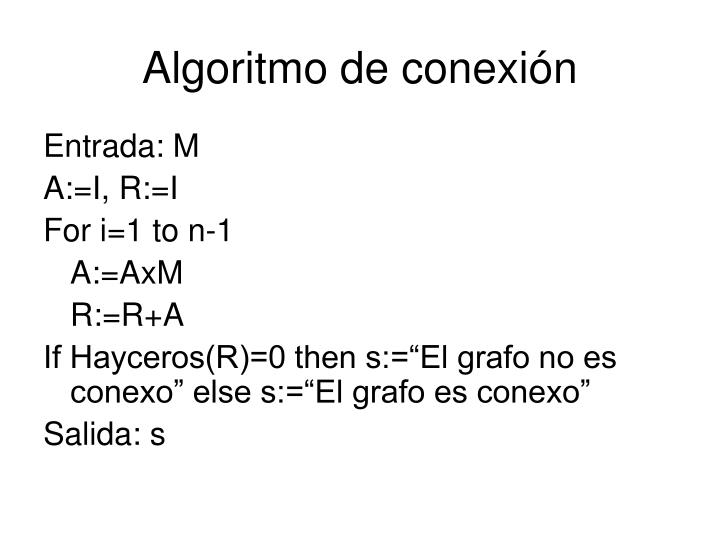 Algoritmo de conexión