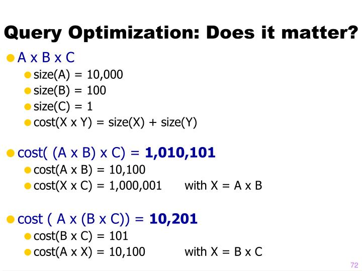 Query Optimization: Does it matter?