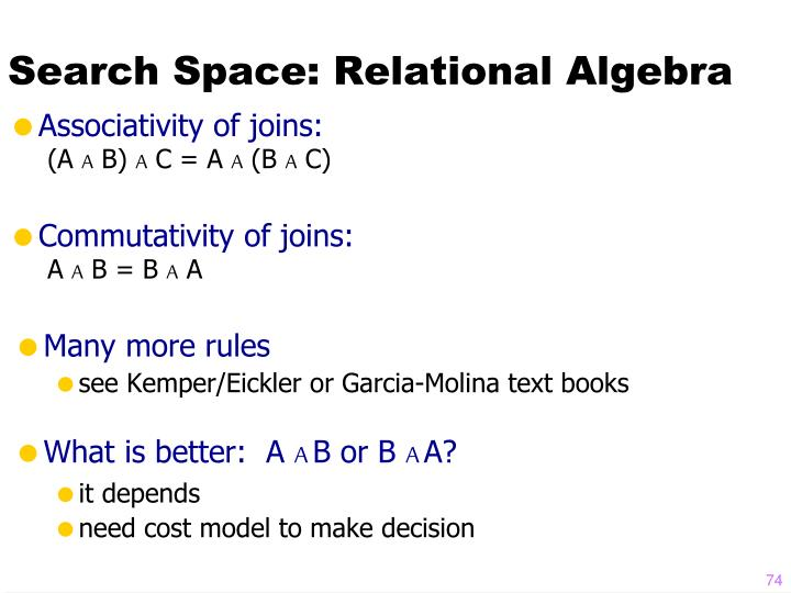 Search Space: Relational Algebra