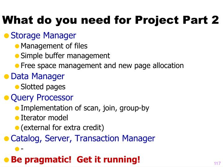 What do you need for Project Part 2