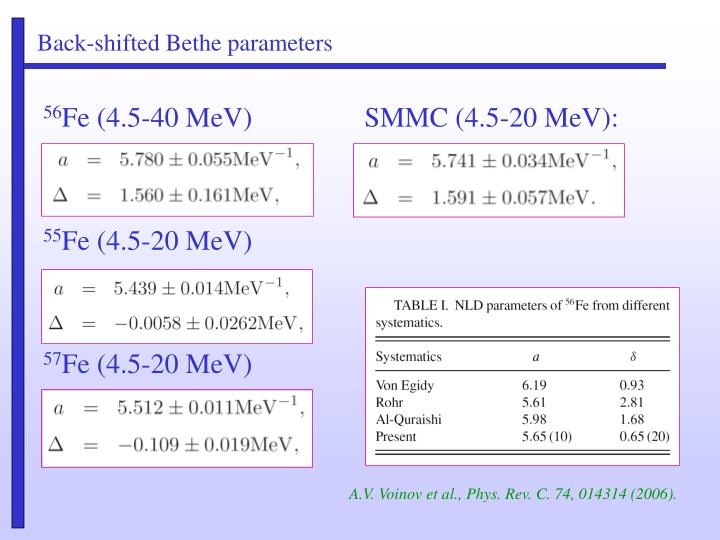 Back-shifted Bethe parameters