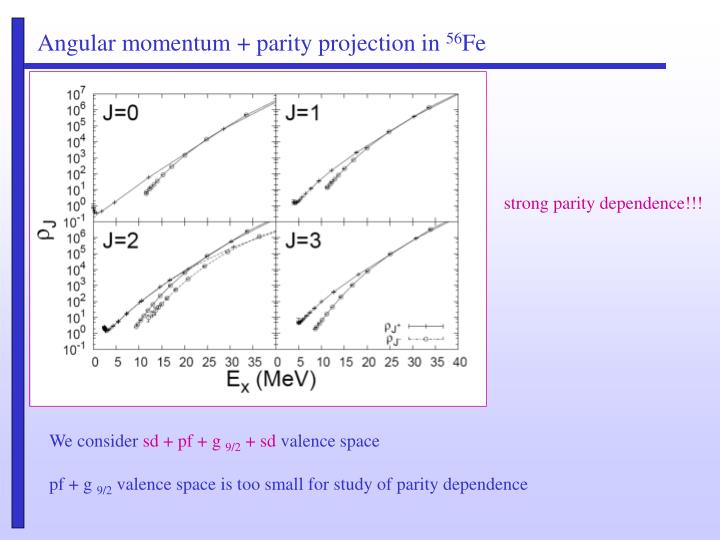 Angular momentum + parity projection in