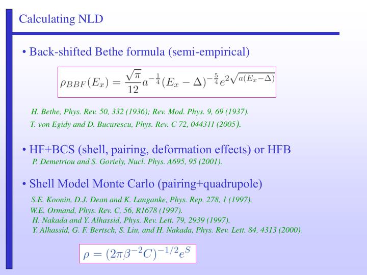 Calculating NLD