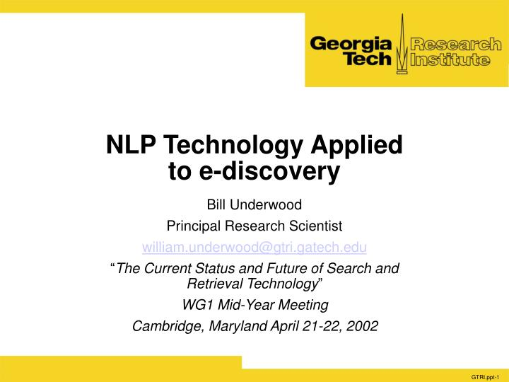nlp technology applied to e discovery n.