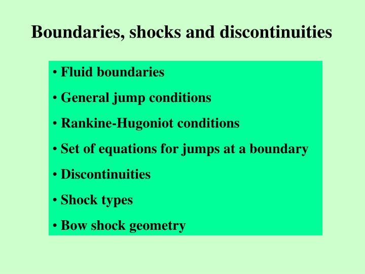 Boundaries, shocks and discontinuities