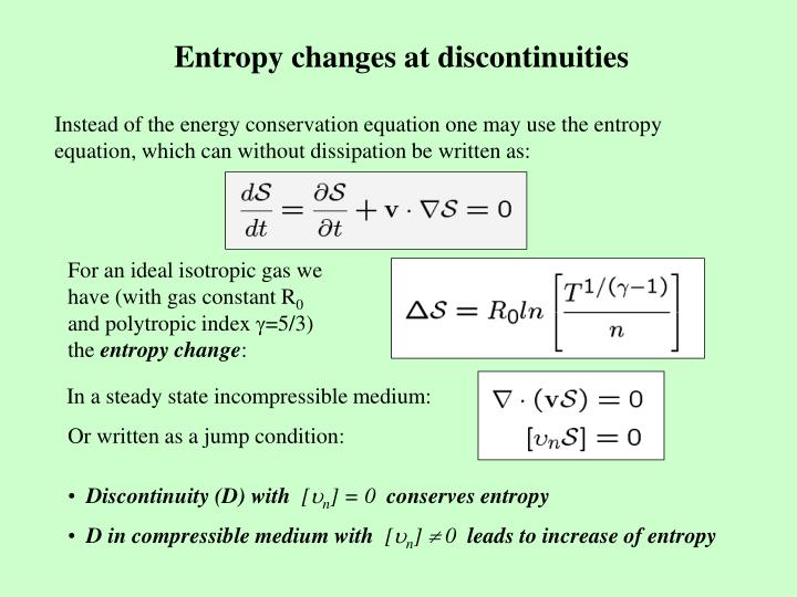 Entropy changes at discontinuities