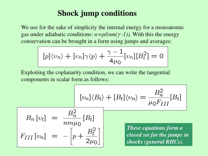 Shock jump conditions