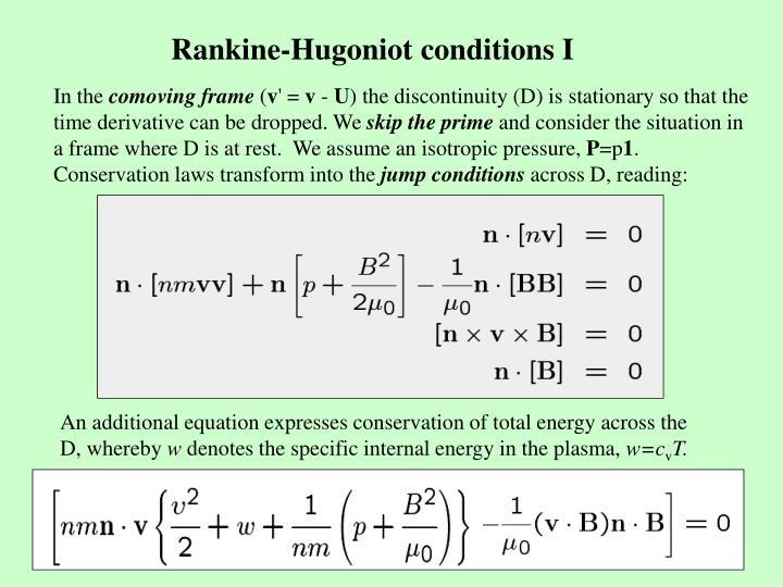Rankine-Hugoniot conditions I