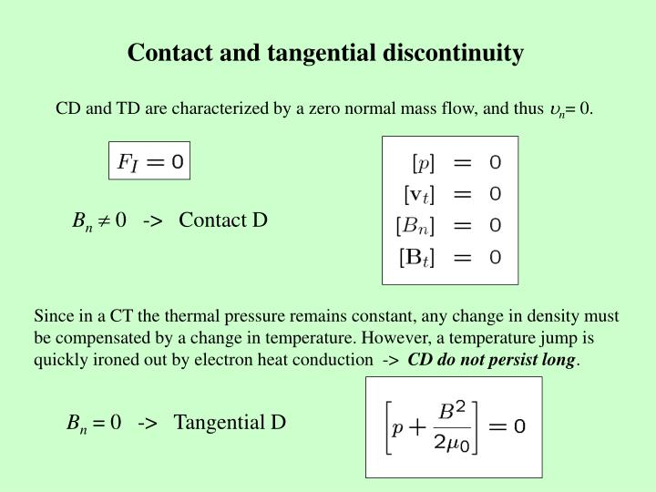 Contact and tangential discontinuity