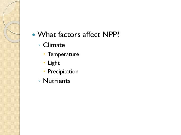 What factors affect NPP?