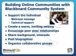 building online communities with blackboard community system
