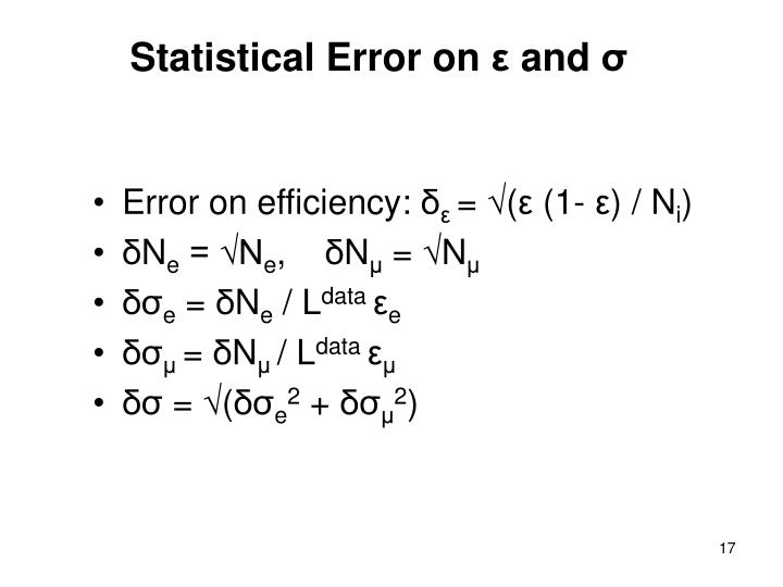 Statistical Error on