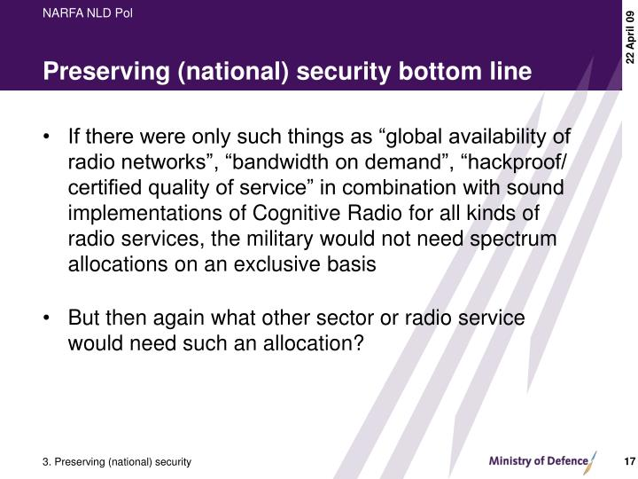 Preserving (national) security bottom line