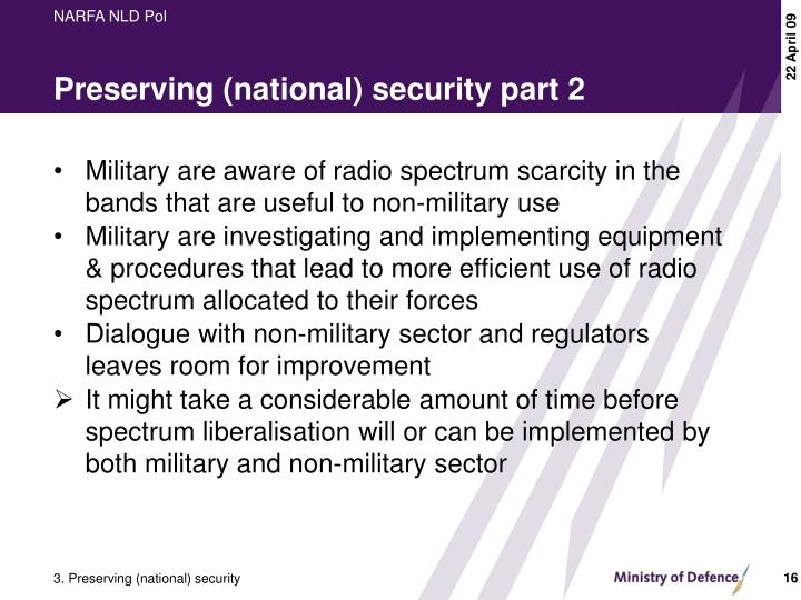 Preserving (national) security part 2