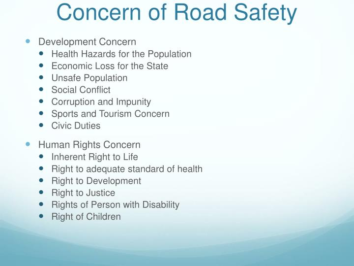 Concern of Road Safety