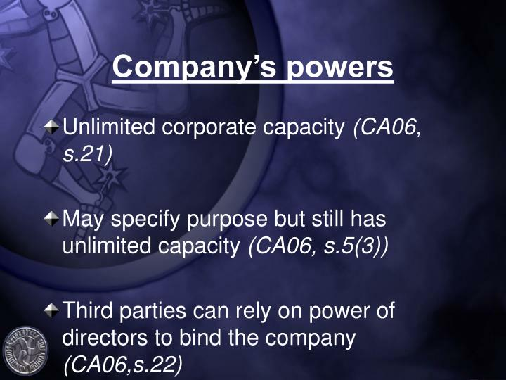 Company's powers